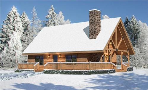 Timberhaven log home design, log home floor plan, Valley View I, Elevation