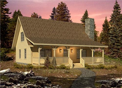 Timberhaven log home design, log home floor plan, Valley View II, Elevation