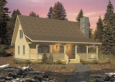 Timberhaven log home design, log home floor plan, Valley View, Elevation