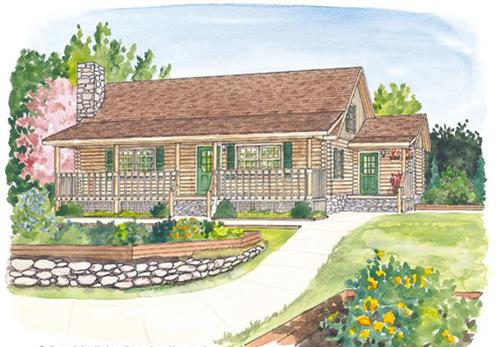 Timberhaven log home design, log home floor plan, Vernon, Elevation