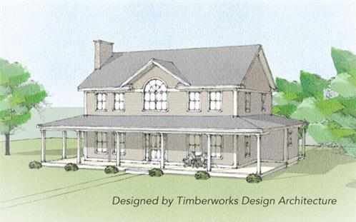 Timberhaven log home design, log home floor plan, Waitsfield Timber Frame, Elevation