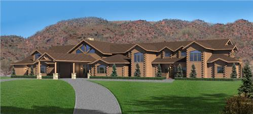Timberhaven log home design, log home floor plan, Walkers Landing, Elevation