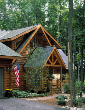 Timberhaven log home design, log home floor plan, Warren, Elevation