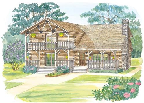 Timberhaven log home design, log home floor plan, Westfield, Elevation