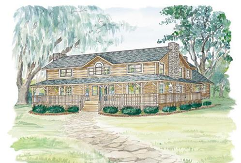 Timberhaven log home design, log home floor plan, Williamsburg, Elevation