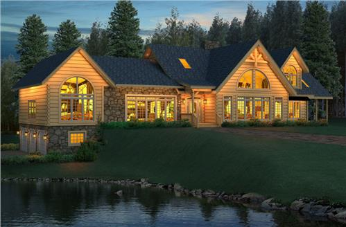 Timberhaven log home design, log home floor plan, Williamson, Elevation