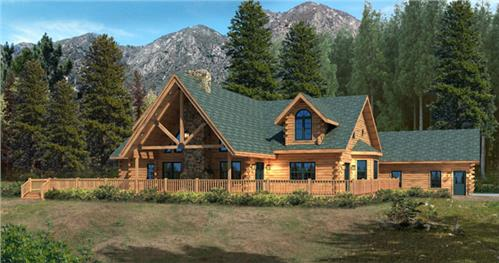 Timberhaven log home design, log home floor plan, Willow Brook, Elevation