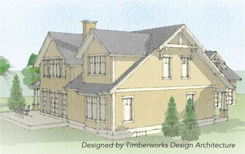 Timberhaven log home design, log home floor plan, Wilmington Timber Frame, Elevation