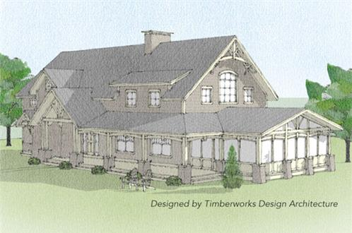 Timberhaven log home design, log home floor plan, Windsor Timber Frame, Elevation