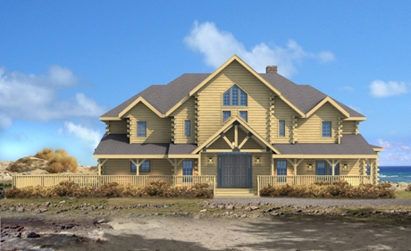 Timberhaven log home design, log home floor plan, Wyndemere, Elevation