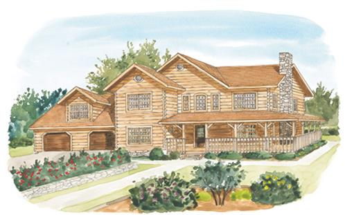 Timberhaven log home design, log home floor plan, York, Elevation