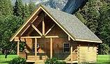 Timberhaven log home design, log home floor plan, Tuscarora, and Elevation