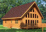 Timberhaven log home design, log home floor plan, Aspen Hill, and Elevation
